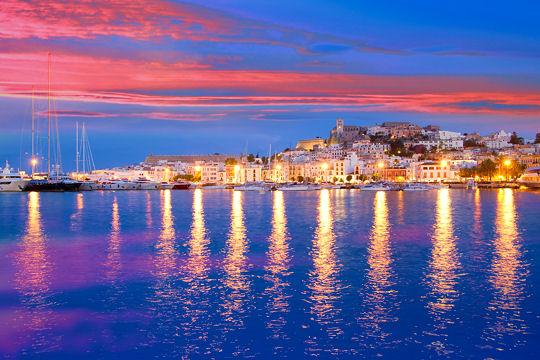 Ibiza island night view of Eivissa town