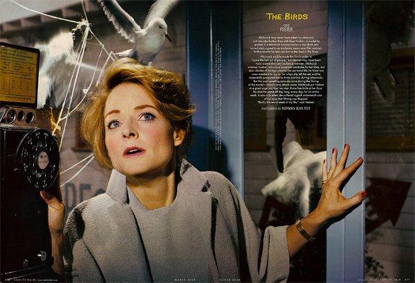 Hitchcock-hollywood-homage-homenaje-vanity-faire-modaddiction-moda-fashion-cine-cinema-culture-cultura-estrellas-famosos-Los-pájaros-Jodie-Foster