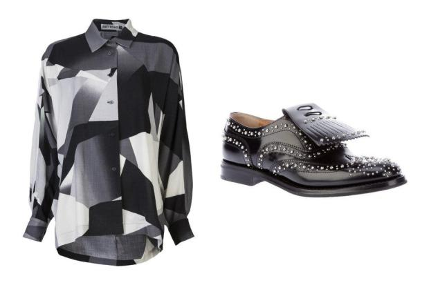 combinacion-blusa-zapatos-shirt-shoes-modaddiction-moda-fashion-mujer-trends-tendencias-farfetch.com-issey-miyake-church's