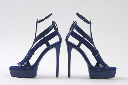 blue high heel sandals with zip-up back and ankle strap