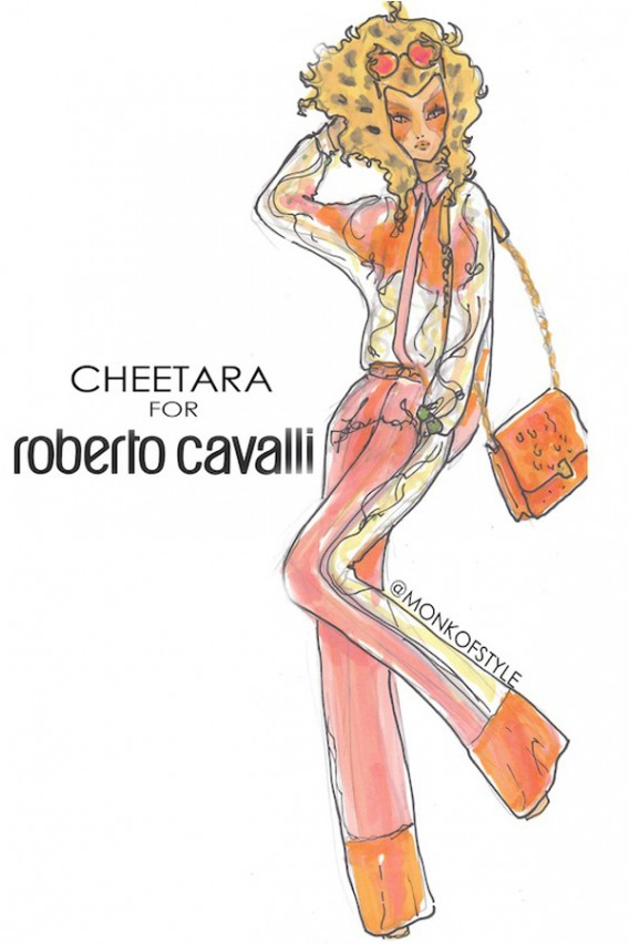 the-style-monk-jerome-le-maan-ilustraciones-illustrations-modaddiction-primavera-verano-2013-spring-summer-2013-moda-fashion-manga-design-diseno-cheetara-roberto-cavalli