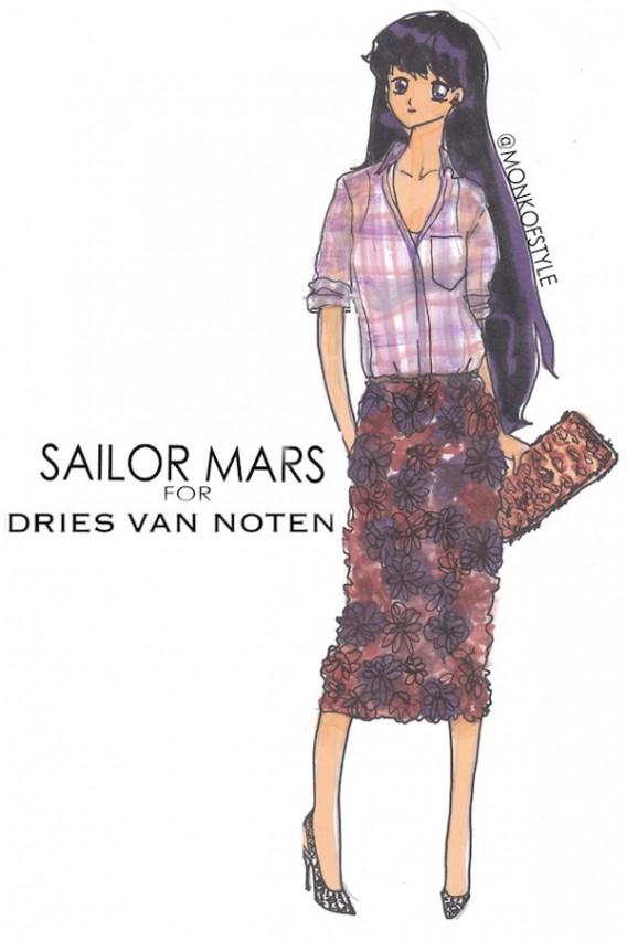 the-style-monk-jerome-le-maan-ilustraciones-illustrations-modaddiction-primavera-verano-2013-spring-summer-2013-moda-fashion-manga-design-diseno-sailor-mars-dries-van-noten